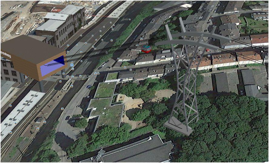 Computersimulation der ersten Stütze (Google Earth)