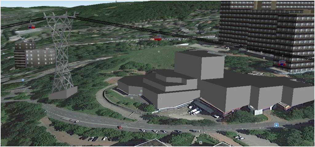 Computersimmulation der zweiten Stütze (Google Earth)