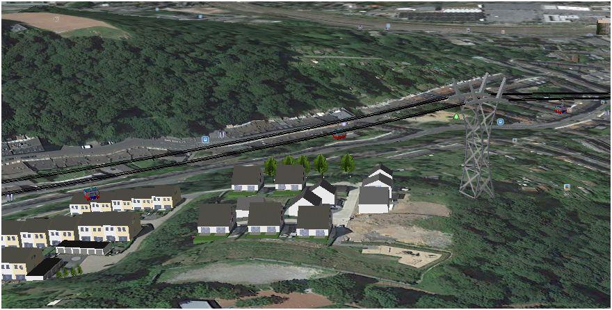 Computersimmulation der dritten Stütze (Google Earth)