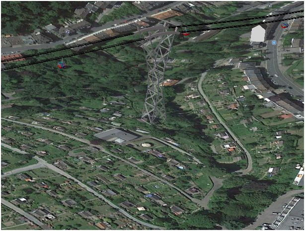Computersimulation der vierten Stütze (Google Earth)