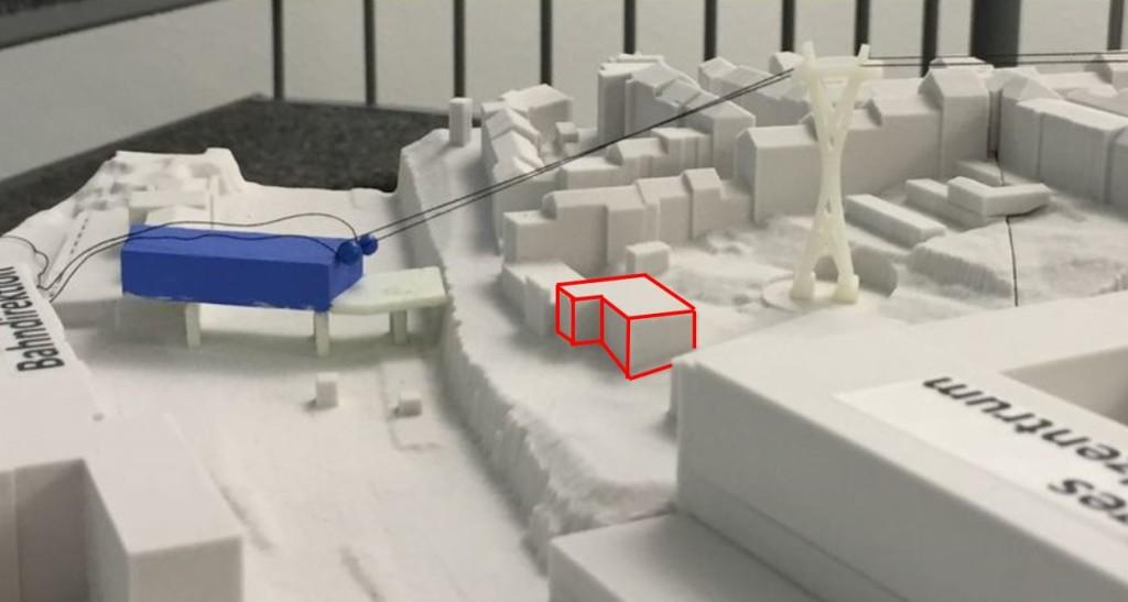 WSW-Modell der ersten Stütze. Das Gebäude der Kita Distelbeck ist rot umrandet