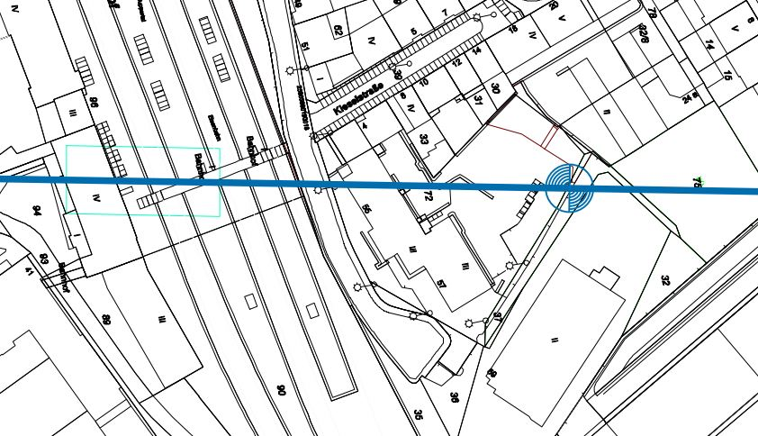 Lage der ersten Stütze. Die Kita Distelbeck hat die Hausnummer 57 (unter der blauen Linie) Quelle: WSW mobil / Ingenieurbüro Schweiger