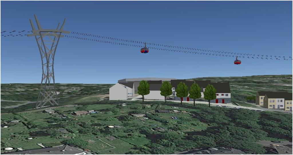 Computersimulation der dritten Stütze (Google Earth)