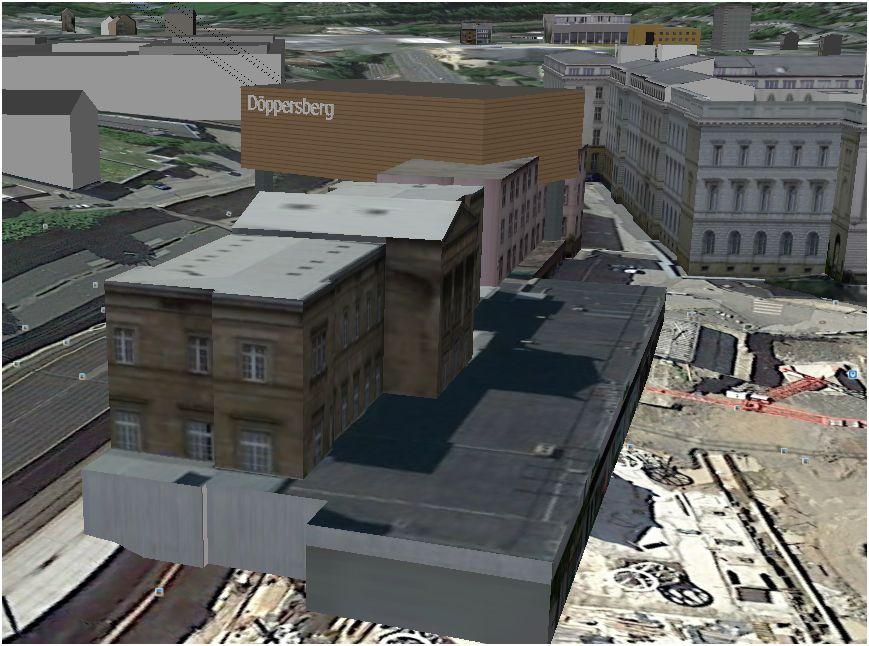 Computersimulation der Talstation; im Vordergrund der Hauptbahnhof (Goolge Earth)