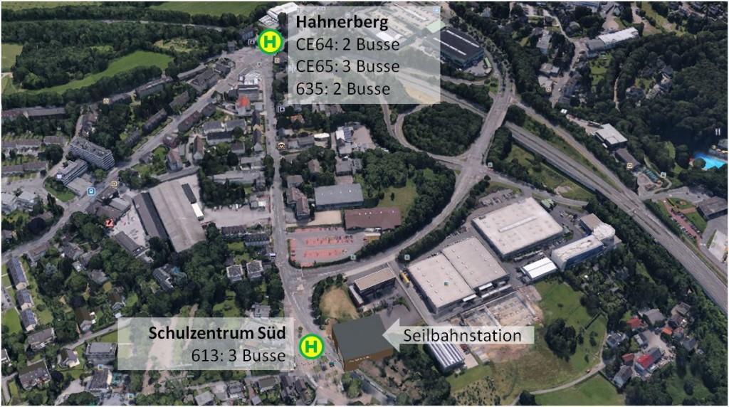 Abbildung 4: Bushaltestellen Hahnerberg und Schulzentrum Süd: weitere 10 Busse fahren diesen Bereich zwischen 07:30 und 08:15 Uhr an (Bild: Google Earth)