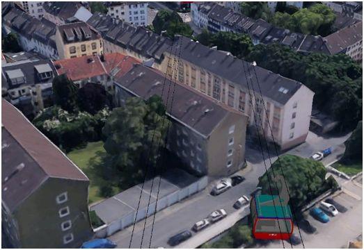 Gebäudeüberfahrt in der unteren Südstadt im Bereich Gambrinusstraße / Malzstraße (Google Earth)