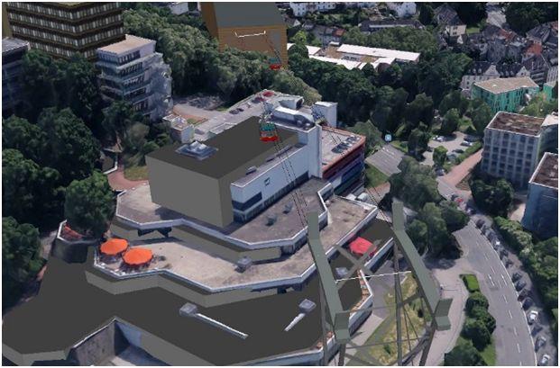 Überfahrt der Uni-Mensa: Gebäude mit Großküche (Google Earth)